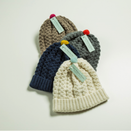 Cable Mini Pom Pom Hats